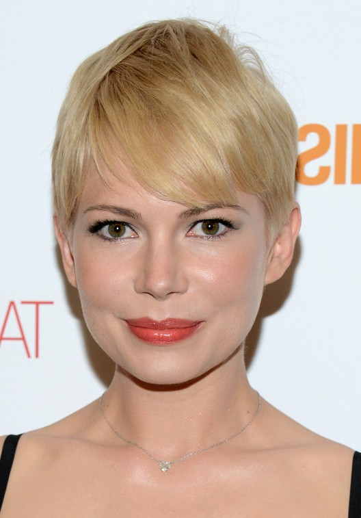 Michelle Williams Short Straight Pixie Haircut with Bangs