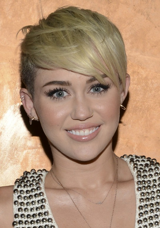 Miley Cyrus Short Blonde Pixie Cut with Side Swept Bangs