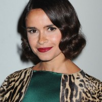 Miroslava Duma Short Dark Brown Finger Wave Hair Style