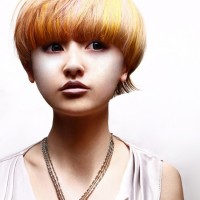 Mushroom Haircut for Asian Girls - Bold Highlighted Bowl Cut
