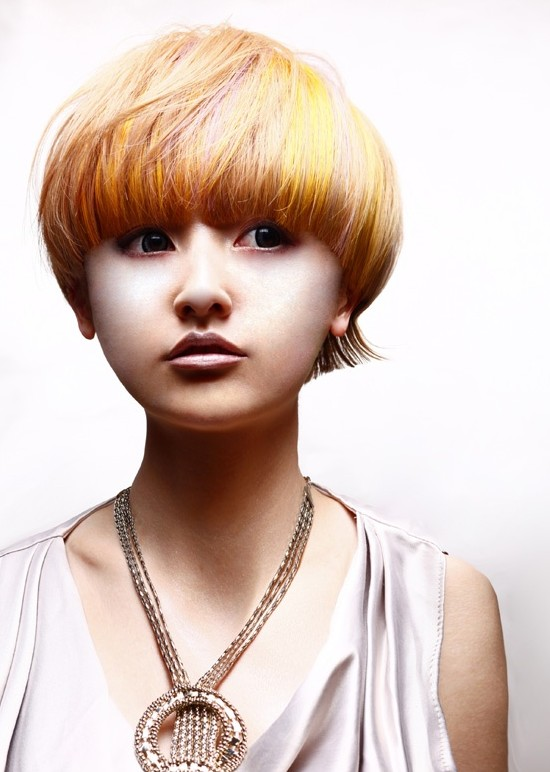 Mushroom Haircut For Asian Girls Bold Highlighted Bowl Cut