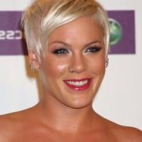 Pink's Short Blonde Pixie Cut