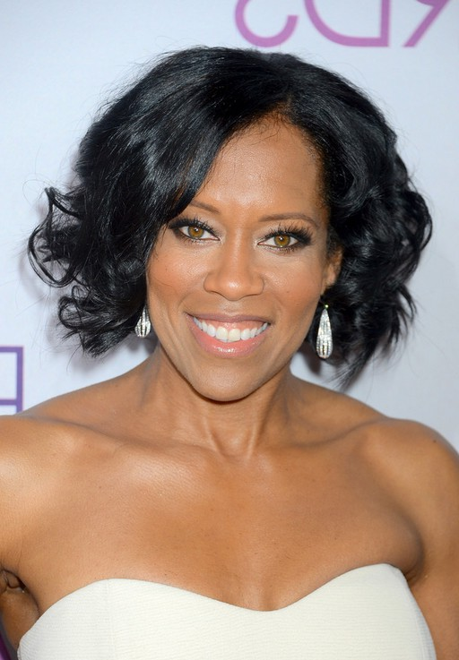 Regina King Short Black Curly Hairstyle for Prom