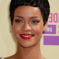 Rihanna Short Black Curly Boy Cut for Black Women