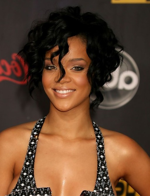 Rihanna Short Black Layered Curly Bob Hairstyle