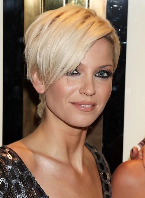 Sarah Harding Short Blonde Pixie Cut With Long Bangs