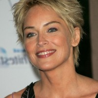 Sharon Stone Spiky Short Haircut for Older Women Over 50
