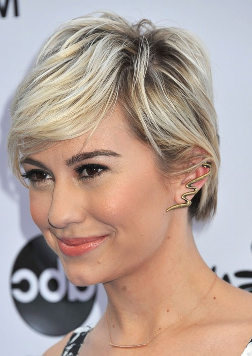 Side View of Chelsea Kane Short Sleek Pixie Cut with Side Bangs