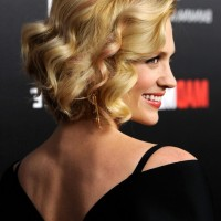 Side View of January Jones Short Curly Bob Haircut