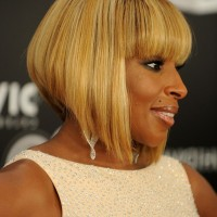 Side View of Mary J. Blige Inverted Bob Haircut for Black Women
