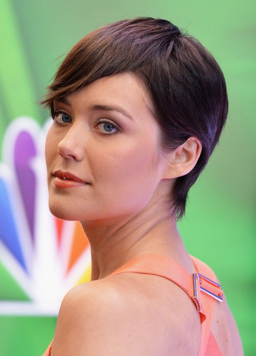 Side View of Megan Boone Short Pixie Haircut with Bangs