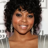 Taraji P. Henson Short Black Curly Bob Hairstyle for Black Women