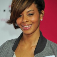 Vanessa Simmons Highlighted Short Inverted Bob Haircut with Long Bangs