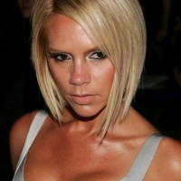 Victoria Beckham Beach Blonde Short Inverted Bob Haircut