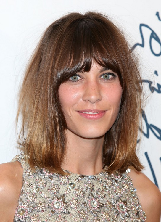 Alexa Chung Casual Tousled Bob Hairstyle With Bangs