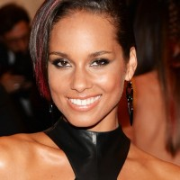 Alicia Keys Side Parted Short Haircut with Long Bangs