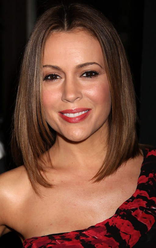 Alyssa Milano Straight Lob Hairstyle Styles Weekly