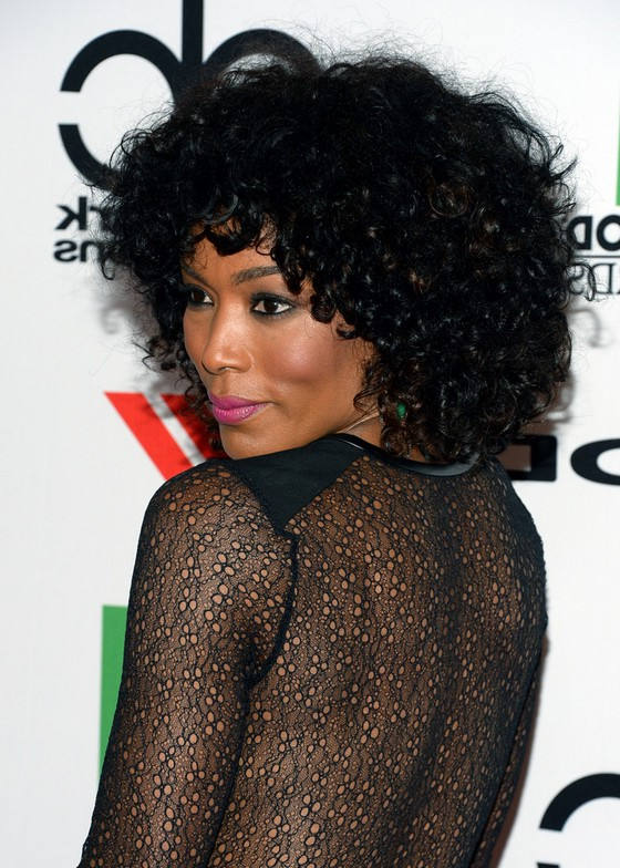 Angela Bassett Medium Black Curly Hairstyle With Bangs For
