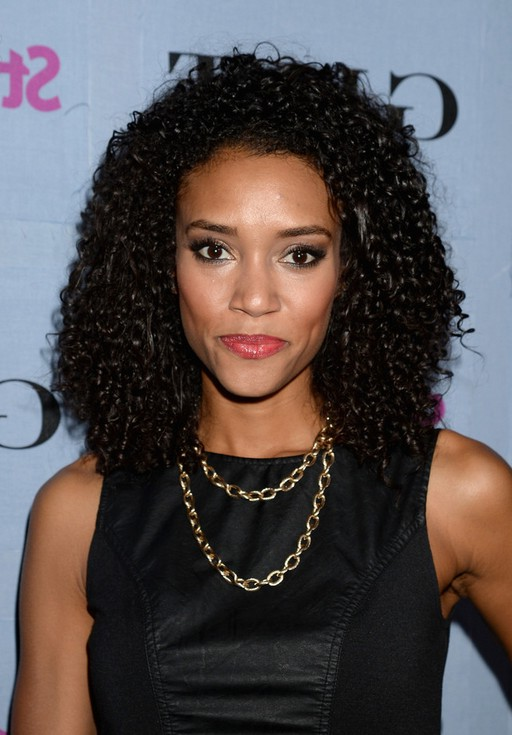 Annie Ilonzeh Shoulder Length Black Curly Hairstyle for Black Women