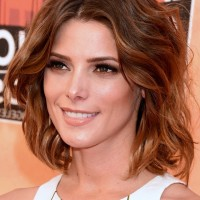 Ashley Greene Medium Brunette Wavy Hairstyle for Summer