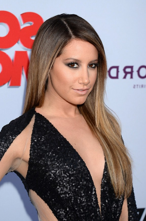 ashley tisdale pretty long sleek straight ombre hair for