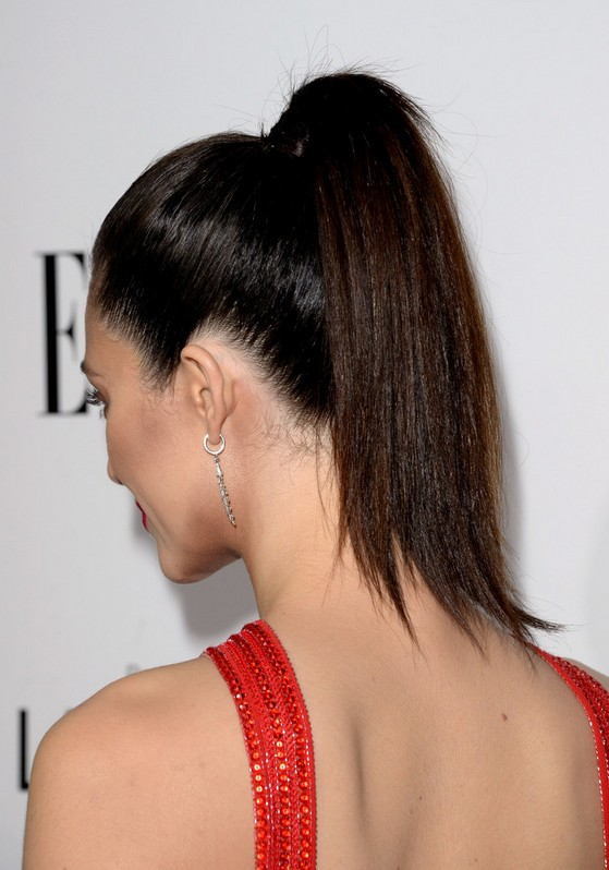 Back View Of Emmy Rossum High Ponytail For Gym Styles Weekly