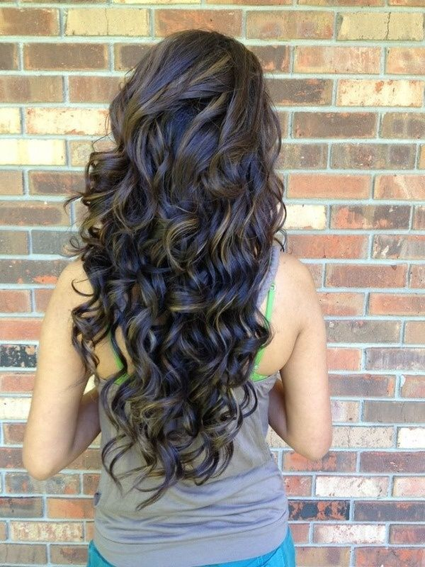 Back View of Long Curly Hairstyle for Girls