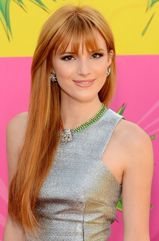 Bella Thorne Long Copper Straight Hairstyle With Wispy