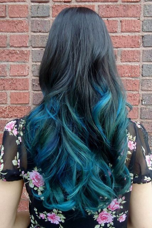 the gallery for gt black blue hair ombre