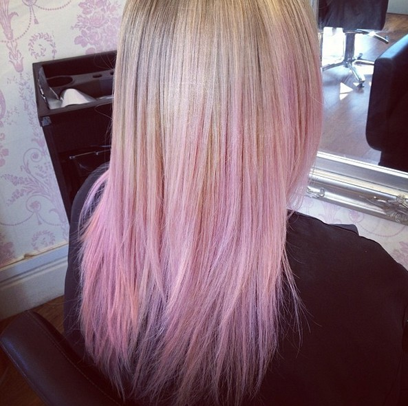 Blonde Fade to Pink Ombre Hair Style for Girls