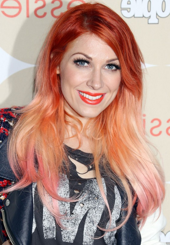 Bonnie Mckee Red To Pink Ombre Hair