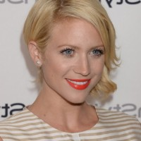 Brittany Snow Romantic Short Blonde Wavy Hairstyle