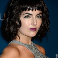 Camilla Belle Short Black Wavy Hairstyle with Full Bangs