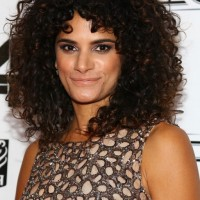 Celebrity Ashley Dyke Dark Brown Curly Hairstyle for Thick Hair