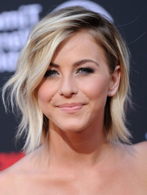 Celebrity Cute Short Ombre Haircut with Side Swept Bangs