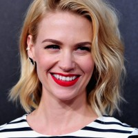 Celebrity January Jones Latest Medium Bob Hairstyle with Waves