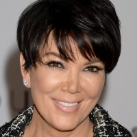 Celebrity Kris Jenner Short Short Black Haircut with Straight Across Bangs