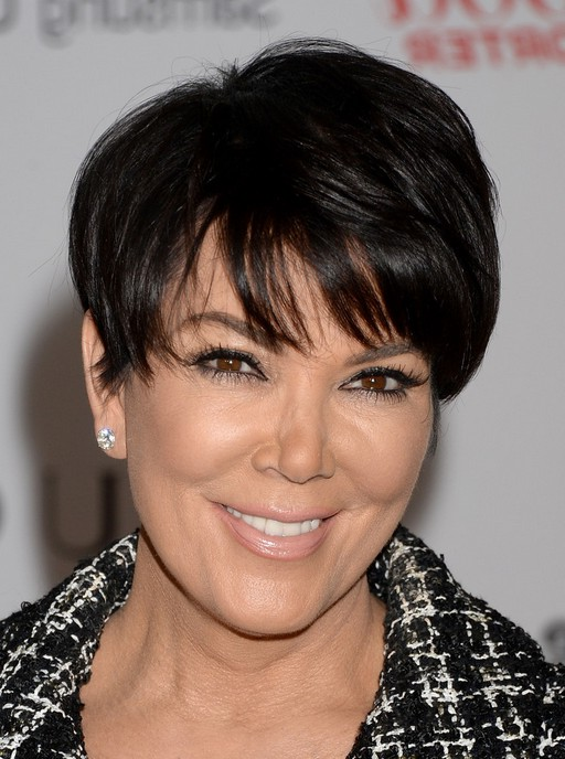 celebrity kris jenner short short black haircut with straight across