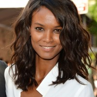 Celebrity Liya Kebede Medium Dark Wavy Hairstyle for Thick Hair