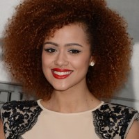Celebrity Medium Curly Hairstyles from Nathalie Emmanuel