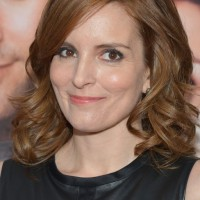 Celebrity Tina Fey Shoulder Length Hairstyle with Bouncy Curls