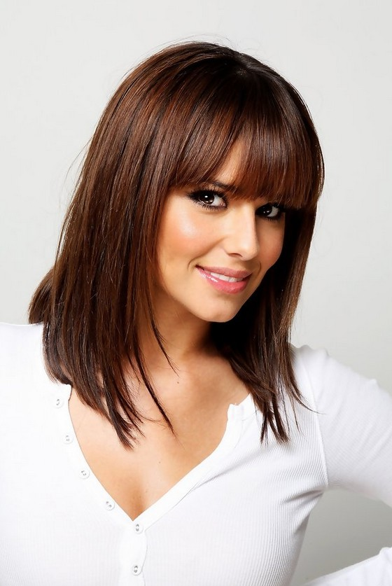 medium straight hairstyles with bangs hairstylegalleriescom