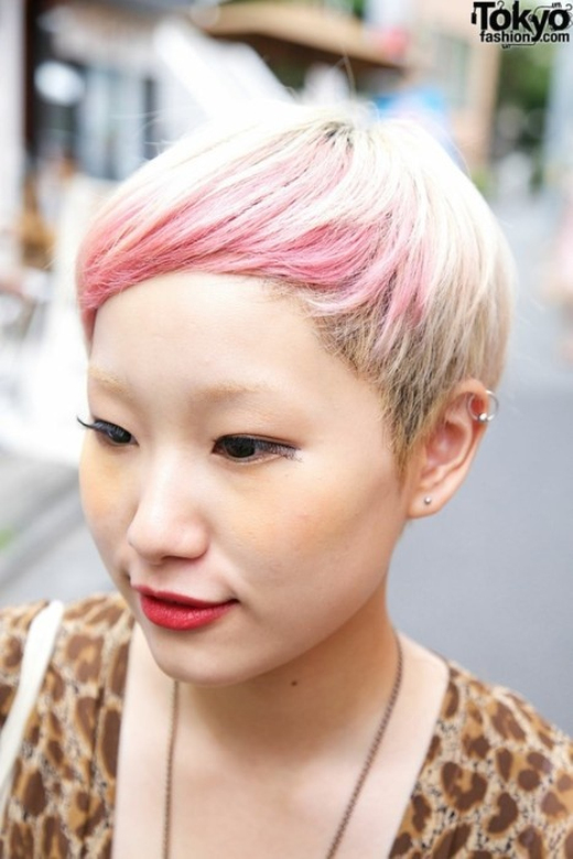 Chic Japanese Blonde To Pink Ombre Hair For Short