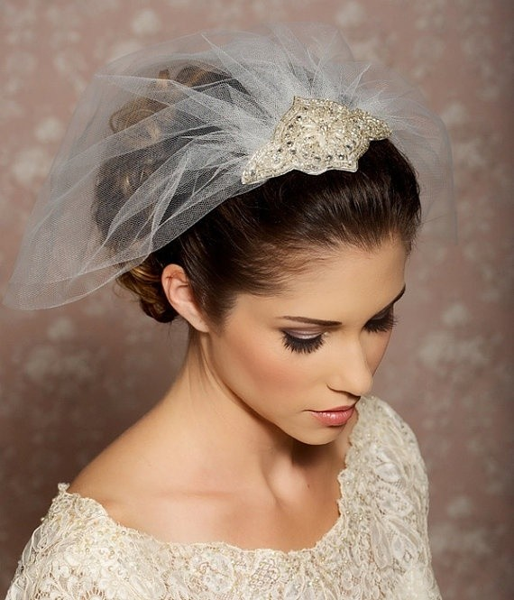 Chic Updos with Crystal Veil: Hairstyles for Brides