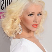 Christina Aguilera Medium Length Platinum Blonde Curly Hairstyle