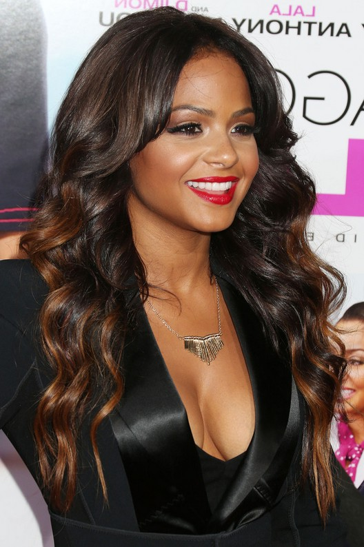 Remarkable Christina Milian Highlighted Long Wavy Hairstyle For Black Women Hairstyle Inspiration Daily Dogsangcom