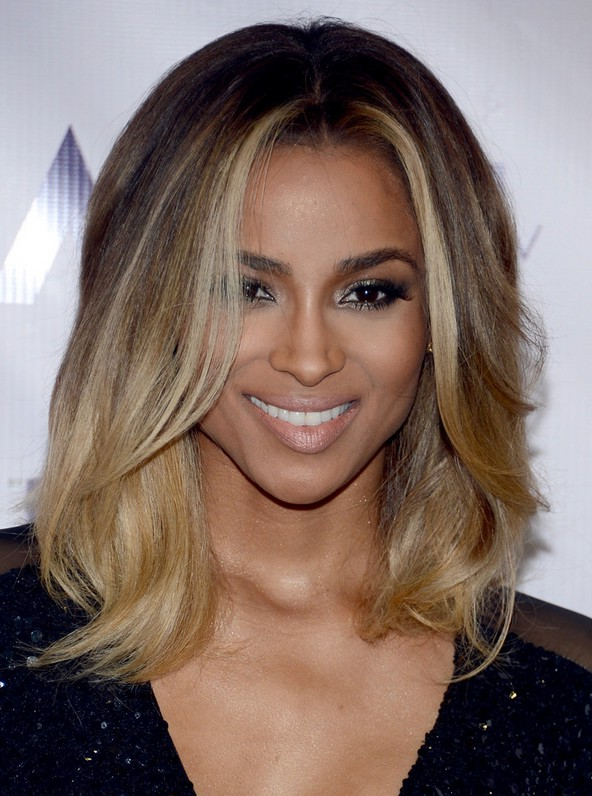 Ciara Latest Shoulder Length Ombre Hairstyle With Layers Styles Weekly
