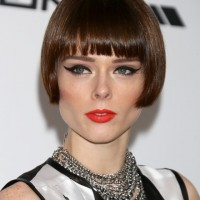 Coco Rocha Short Haircut with Blunt Bangs - Bob Cut