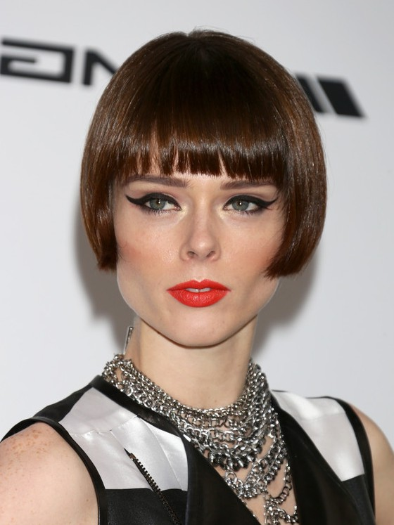 Coco Rocha Short Haircut With Blunt Bangs Bob Cut