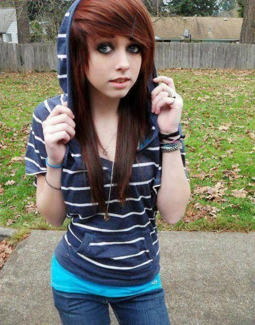 Swell Cute Emo Girl With Long Red Hairstyle Styles Weekly Short Hairstyles Gunalazisus